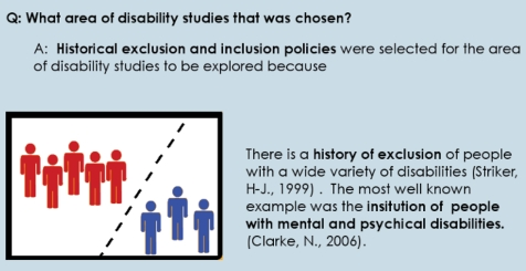 The question ' What areas of disability studies was chosen' from the methodology section.