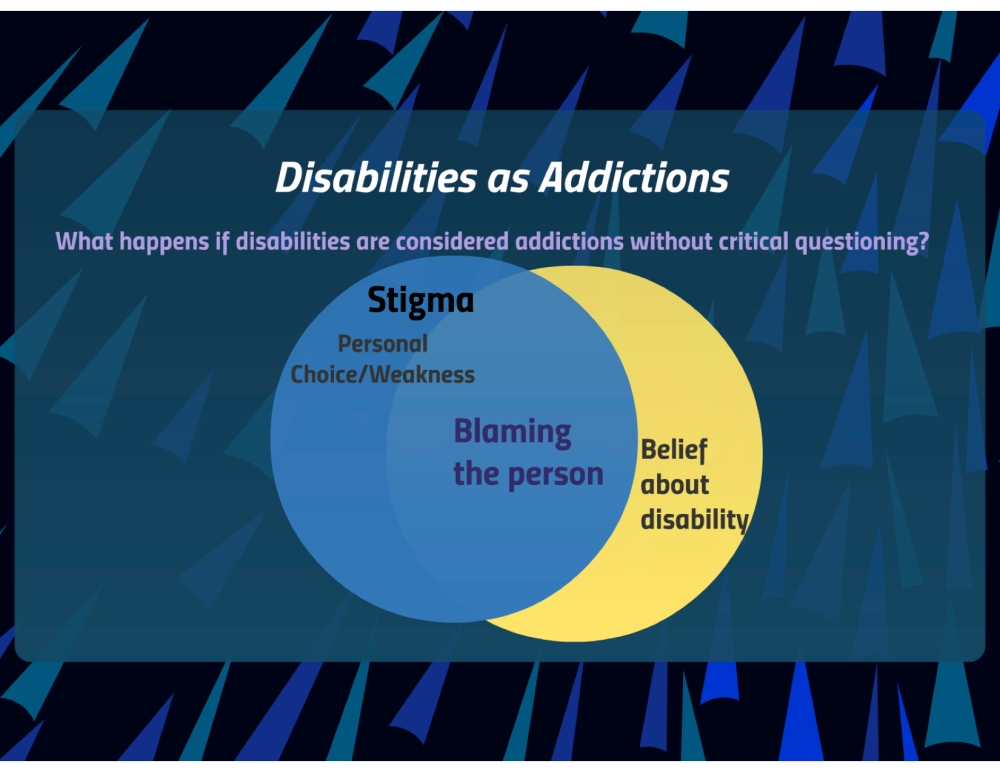 Two circles overlapping to show why the joining of addiction and disability needs to be done critically.